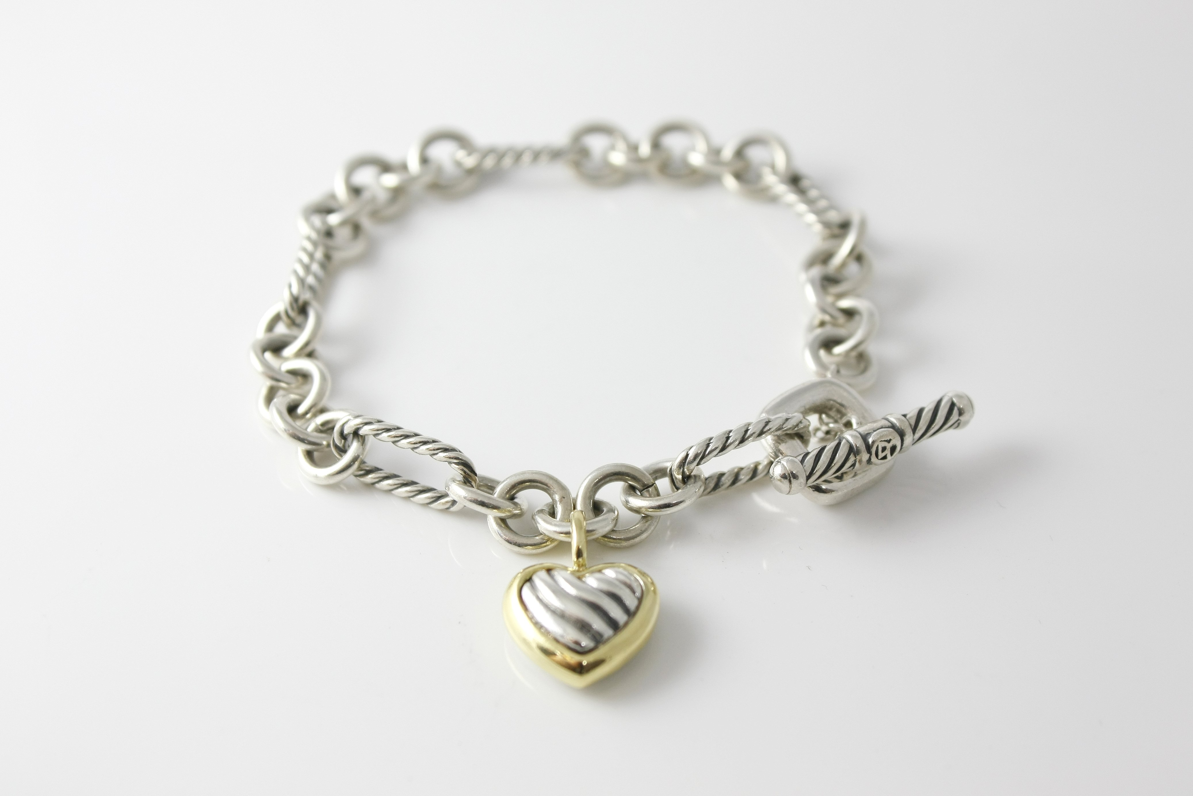 David Yurman Cable Heart Figaro Bracelet - $300